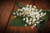 Bouquet of lilies of the valley on a background of wooden boards — Stock Photo