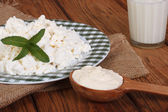 Milk, cottage cheese and sour cream on a wooden table — Stok fotoğraf