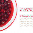 Stock Photo: Plate with cherries isolated on white background. text label