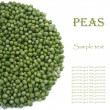 Green peas in a circle with text isolated on white — Stock Photo