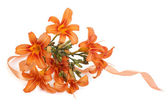Delicate bouquet of flowers orange lilies isolated — Stock Photo