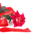 Stock Photo: Red rose with beautiful ribbon isolated on white background.