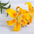 Bouquet of bright yellow flowers roses on a wooden board — Stock Photo #28426333
