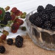 Ripe blackberries in a glass bowl on the table — Stock Photo