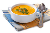 Pumpkin soup on a napkin isolated on white background — Stock Photo