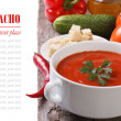 Gazpacho soup with vegetables on the table isolated with text — Stock Photo