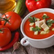 Gazpacho soup with vegetables on the table. top view — Stock Photo