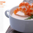 Shrimp in a creamy sauce isolated on a white. close-up — Stock Photo
