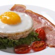 Fried egg on rice cakes with vegetables and ham on a white — Stock Photo