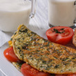 Stock Photo: Omelet with spinach and tomatoes. Toast and milk.