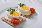 Tasty sandwiches with boiled eggs and sauce on toast — Stock Photo