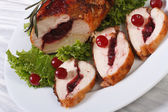 Festive food. Gently meat with cranberries and rosemary — Stock Photo