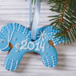 Gingerbread blue horse on the Christmas tree — Stock Photo #36001107
