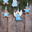 Christmas cookies in blue tones. vertical — Stock Photo