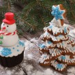 Muffin as a snowman and Christmas Tree Cookies — Stock Photo