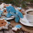 Stock Photo: Coffee and Christmas gingerbread. Symbol of 2014 - Blue Horse