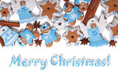 Card Merry Christmas Cookies with cinnamon isolated — Stock Photo