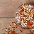 Flakes cereal with dried fruits and nuts. top view — Stock Photo
