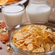 Cornflakes with milk and dried fruit. vertical — Stock Photo