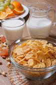 Corn flakes avec du lait et des fruits secs. vertical — Photo