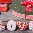 Sweet arrangement Valentine's Day. The word love and heart — Stock Photo