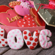 Gift box with hearts ginger cookies. love — Stock Photo