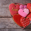 Many different gingerbread hearts in a gift box for Valentine's — Stock Photo #37425609