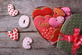 "Gift for Valentine's Day. Box with hearts and the words ""love"" — Stock Photo"