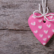 Pink heart sweet cookies on a wooden — Stock Photo