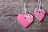 Two pink hearts sweet cookies — Stock Photo