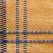 Texture of yellow linen natural fabric with blue stripes. — Stock Photo