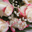Bouquet of delicate white roses with pink petals edged — Stock Photo #39225937