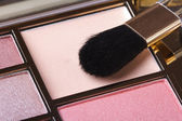 Makeup palette in pink tones with an applicator. blush — Stock Photo