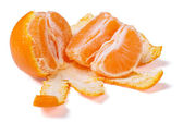 Peeled mandarin segments isolated on white background. — Stock Photo