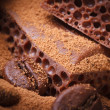 Macro porous chocolate with cocoa powder and coffee — Stock Photo