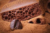 Macro porous chocolate with cocoa powder — Stock Photo