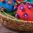 Easter eggs in a basket closeup — Stock Photo