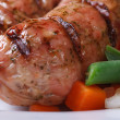 Hot grilled sausage garnished macro horizontal — Stock Photo #41057937