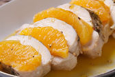 Chicken fillet with oranges and sweet and sour sauce  — Stock Photo