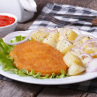 Stock Photo: Schnitzel with young boiled potatoes