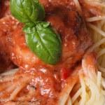 Pasta spaghetti with meatballs and tomato sauce — Stock Photo #42119507
