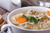 Soup with noodles and meatballs closeup — Stock Photo
