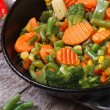 Steamed vegetables in a pan top view — Stock Photo #42721847