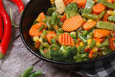 Steamed vegetables in a pan top view — Foto de Stock