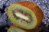 Half fresh kiwi with water drops macro — Stock Photo