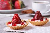 Two tartlets with strawberries, cranberries and cream — Stock Photo