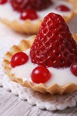 Tartlets with strawberries, cranberries and cream Macro vertical — Stock Photo