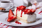 Delicate strawberry cheesecake and coffee — Stock Photo