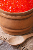 Red salmon caviar in a wooden keg macro — Stock Photo