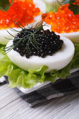 Eggs with red and black fish caviar and lettuce — Stock Photo